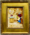 fat italian chef painting in gold frame