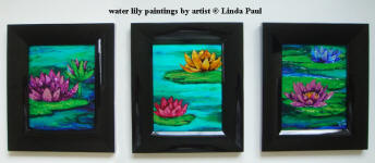 set of 3 water lily framed paintings