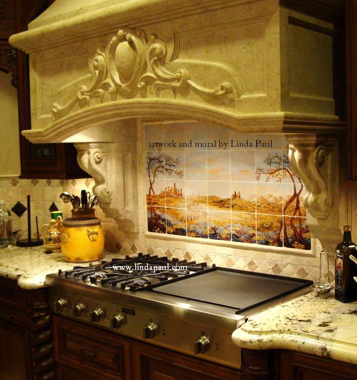 custom kitchen featuring our fields of tuscany tile mural faux stone