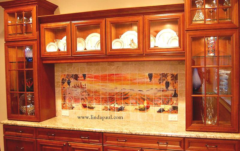 Sunset over Tuscany on tumbled marble installed in a beautiful custom wall