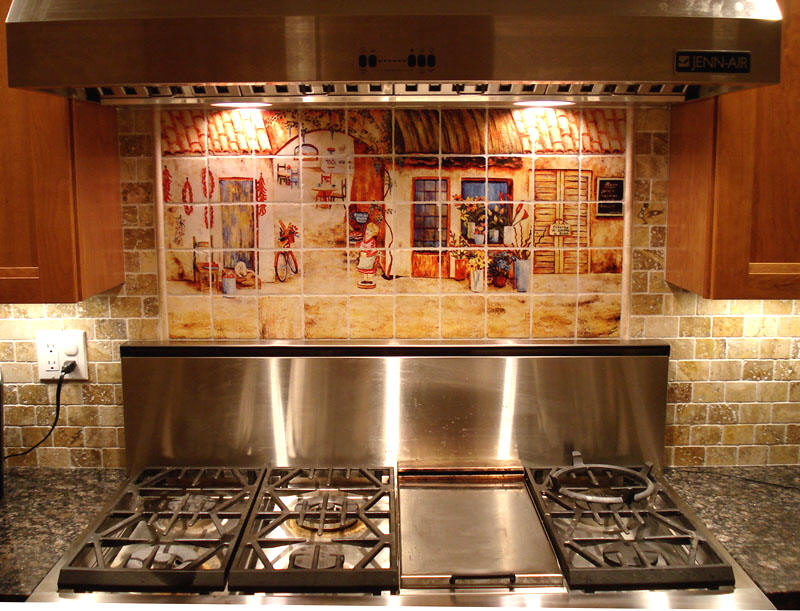 Tuscan decor   italian tile murals   tuscan kitchen backsplashes