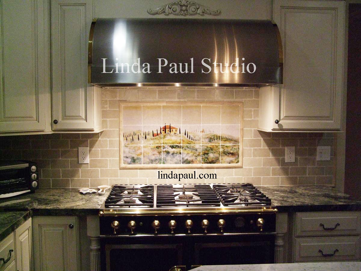 Tuscany Mist kitchen backsplash tile murals of Italy kitchen backsplash tile Tuscan art landscape Kitchen tile backsplash by Linda Paul