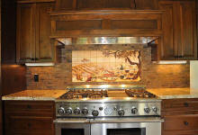 Vineyard kitchen backsplash with copper tile