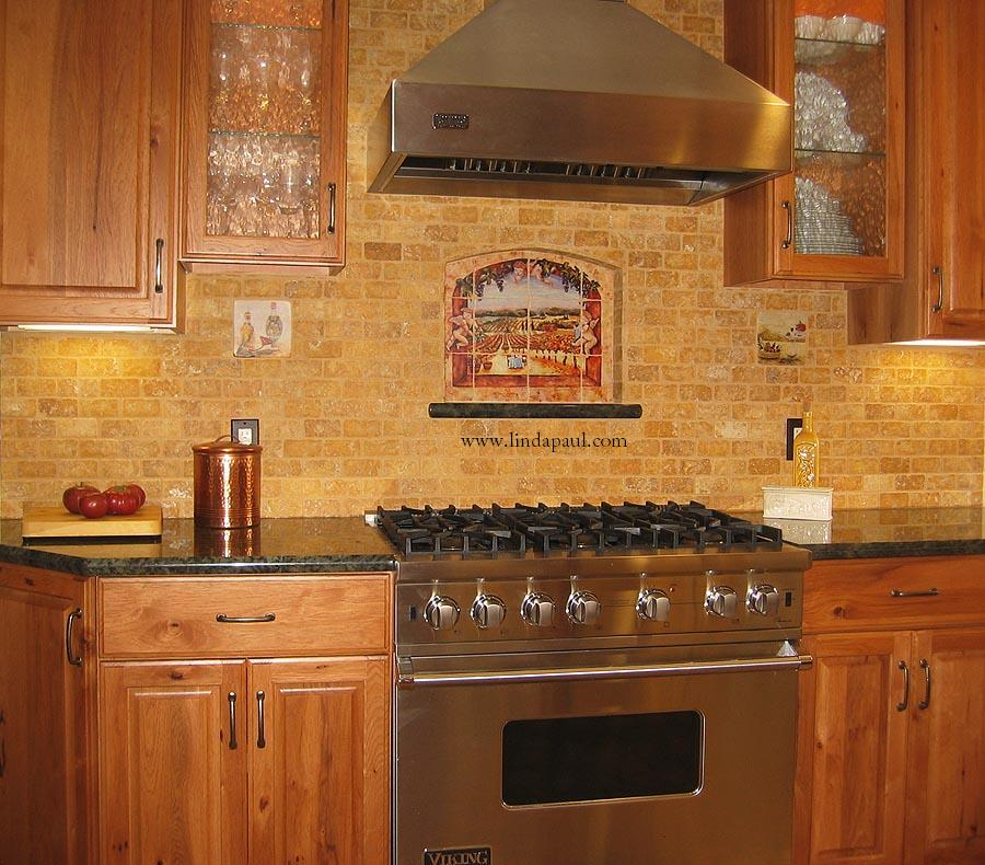 Vineyard view kitchen tile backsplash with grapes vines angels - Backsplash designs travertine ...