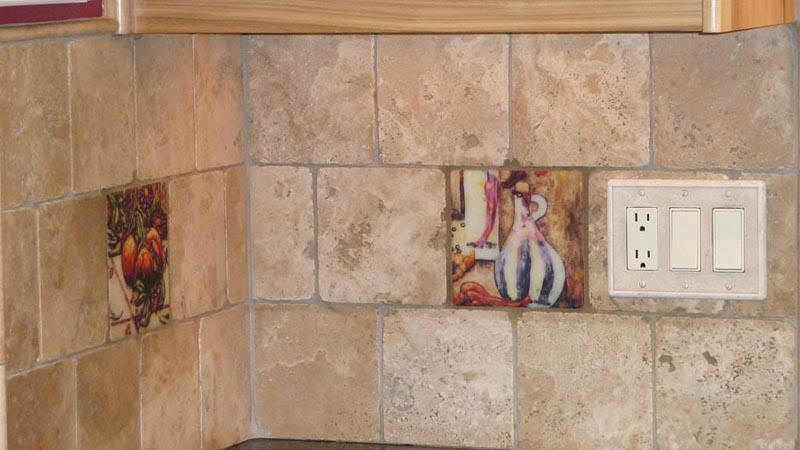 Kitchen Backsplash Accent Tiles Photos mexican tile murals - chili pepper kitchen backsplash mural