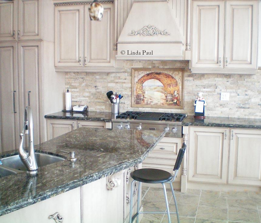 Stacked stone look tiles Stone backsplash tile