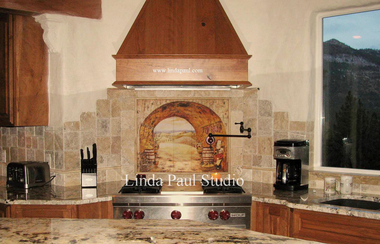 Everything Tuscany tile mural backsplash kitchen backsplash tile Everything Tuscany Tile Kitchen Backsplash Mural by artist Linda Paul