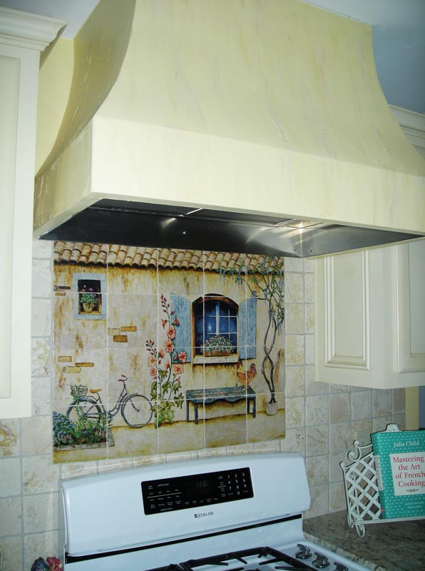 Exceptional French Country Mural And Custom Hood