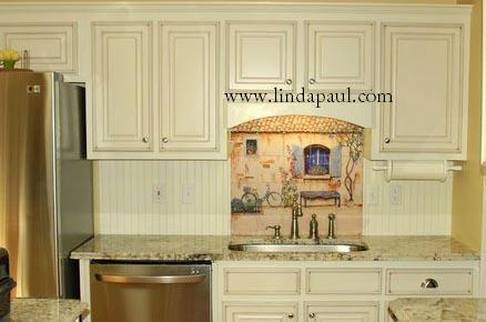 Awesome Tile Mural In French Cuntry White Kitchen