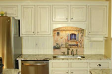 tile mural in french cuntry white kitchen