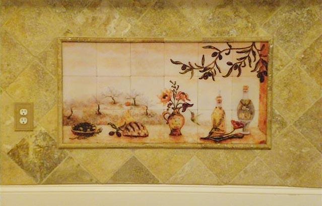 Olives Tile mural Backsplash of Olive Garden Landscape