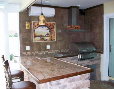 outdoor kitchen with mural