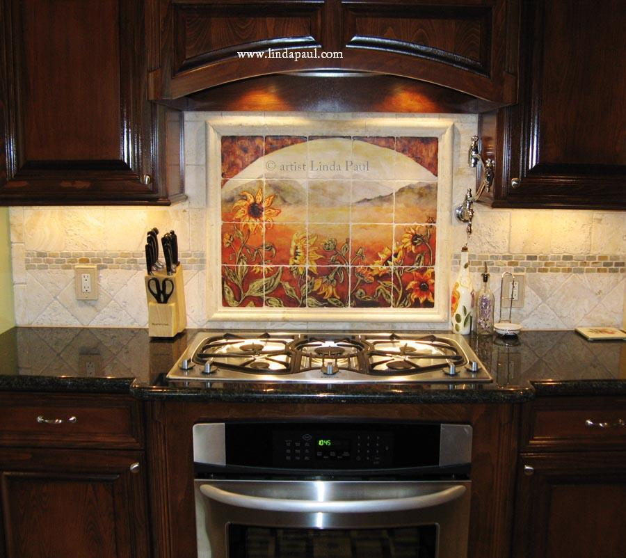 Sunflower kitchen decor tile murals western backsplash for Kitchen designs with glass tile backsplash