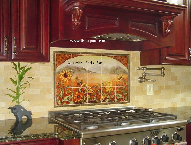 Sunflower Kitchen Decor Tile Murals - Western Backsplash of Sunflowers