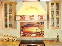 sunset window mural with matching accent tiles on hood