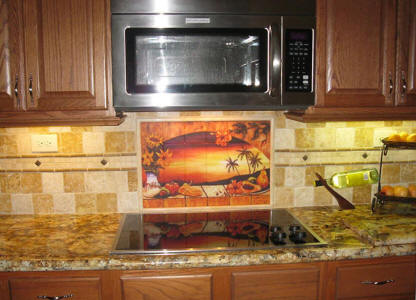tropical tile mural sunset