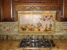 Olives tile backsplash mural