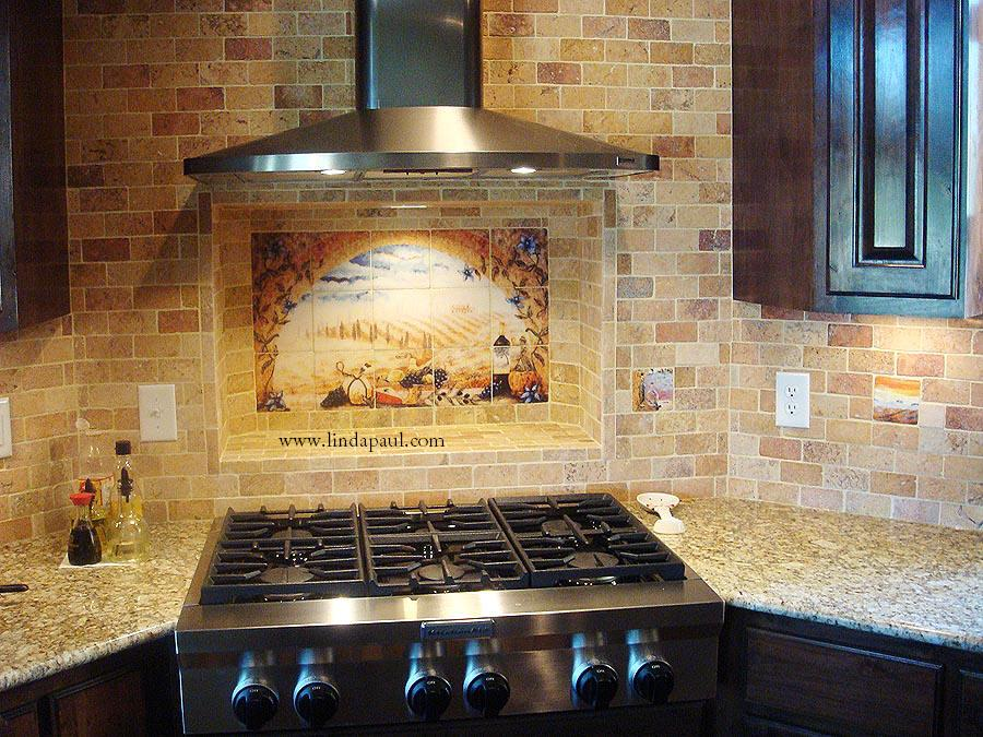 Italian tile murals tuscany backsplash tiles Kitchen tile backsplash