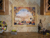 tuscan landscape mural installed picture