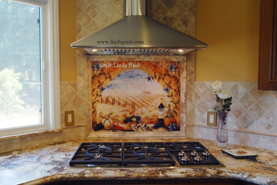 Italian tile murals tuscany backsplash tiles for Backsplash tile mural
