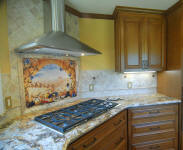 Tuscany Arch stone backsplash mural installed