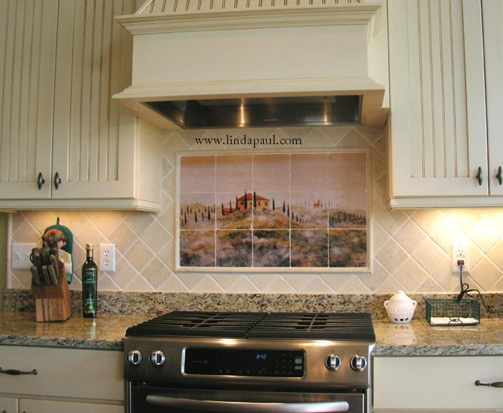 Kitchen Backsplash Tile Murals of Tuscany Landscape - Tuscan Art Tiles