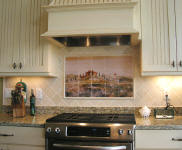 contemporary kitchen with tuscnay mural