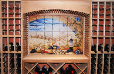 Tuscany Window tile backsplash installed in wine cellar