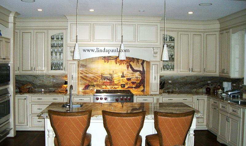 Tuscan Vineyard Tile Murals - Wine Tiles for Kitchen Backsplashes