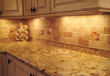 accent tiles placed in between subway tiles