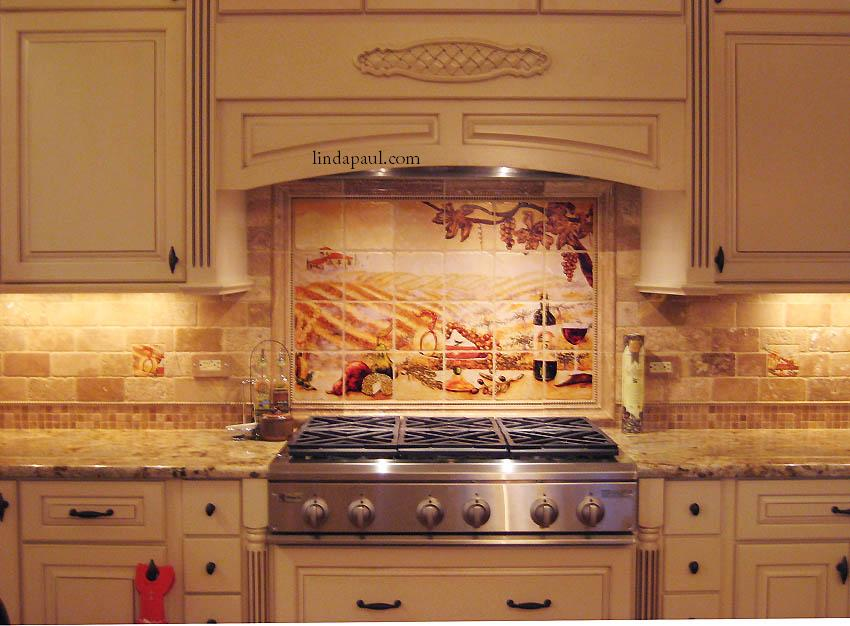 Vineyard Installed Kitchen Backsplash Design Travertine Mosaic Tile