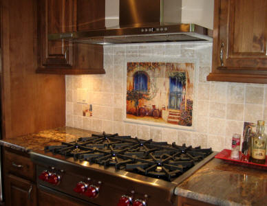 french country tile kitchen