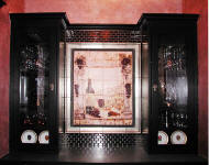wine cabinet with wine tile backsplash