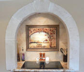alcove kitchen stove top and mural