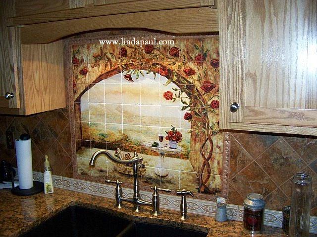 Wine and roses tile mural kitchen backsplash custom tile art for Backsplash mural tiles