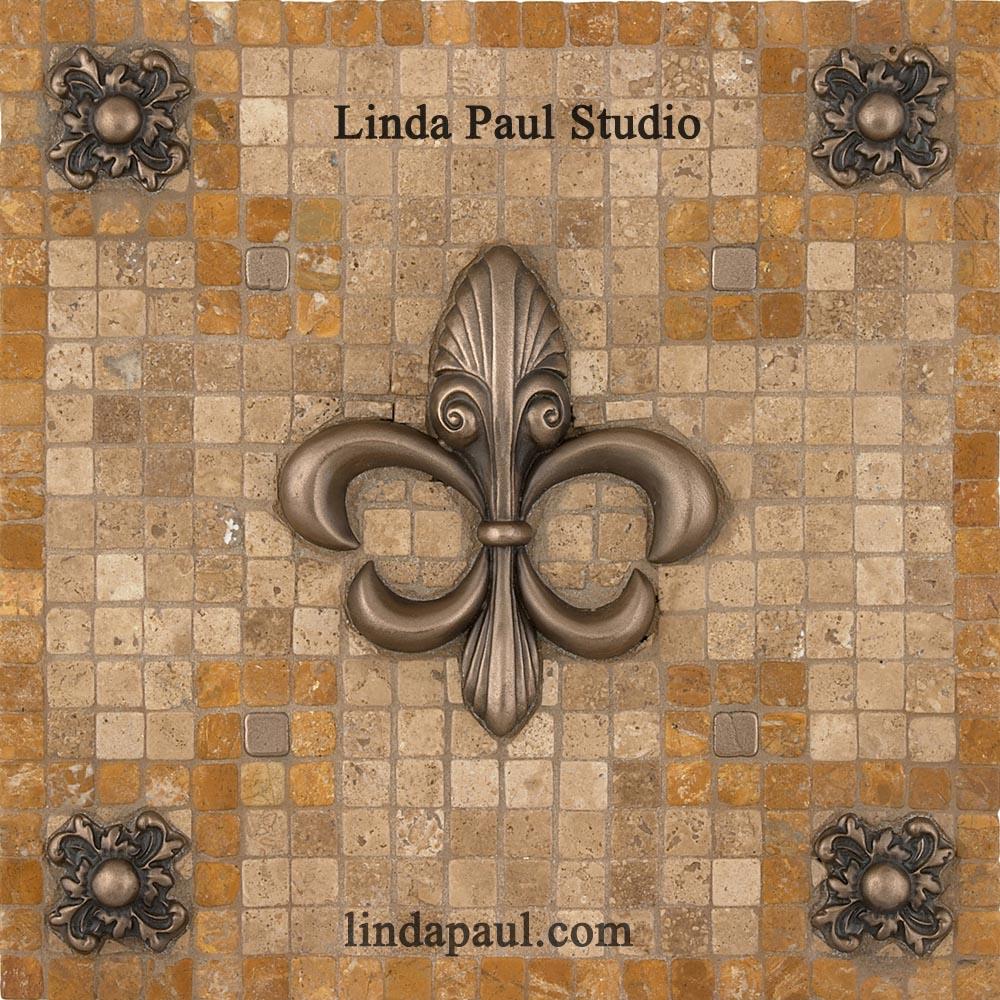 contemporary fleur de lis backsplash medallion - mosaic tile and metal