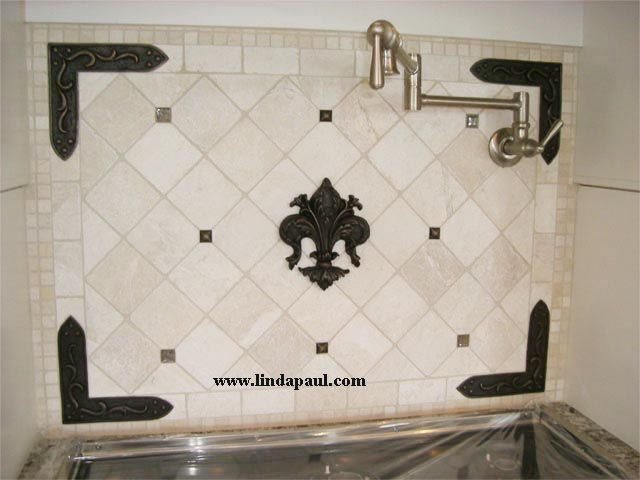 Kitchen Backsplash Accents fleur de lis tile - kitchen backsplash wall decor accent tiles