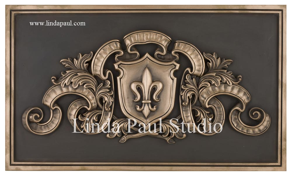 Regal Fleur De Lis Metal Backsplash Mural Plaque