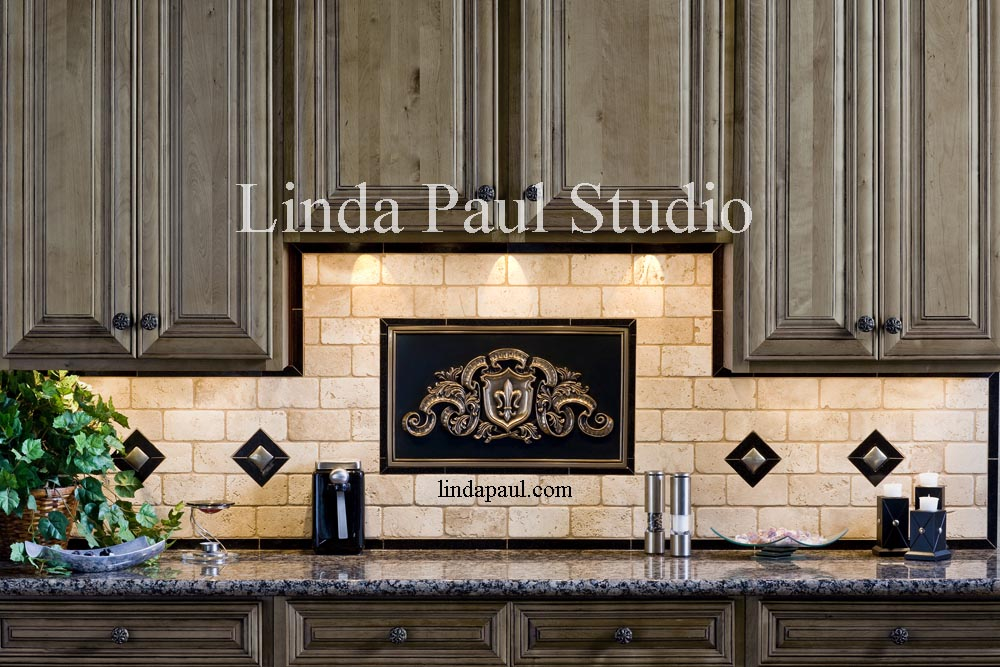 Kitchen Backsplash Medallions metal murals for kitchen backsplash - fleur de lis plaque