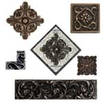 collection of flower decorative accent tiles