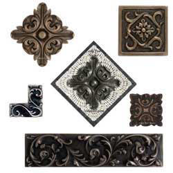 Metal Flower Accent Tiles For Kitchen Backsplashes - Decorative 4x4 metal tiles