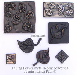 collection of leaf and falling leaves accent tiles