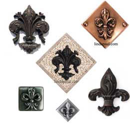 Fleur De Lis Tile Kitchen Backsplash Wall Decor Accent Tiles - Decorative 4x4 metal tiles