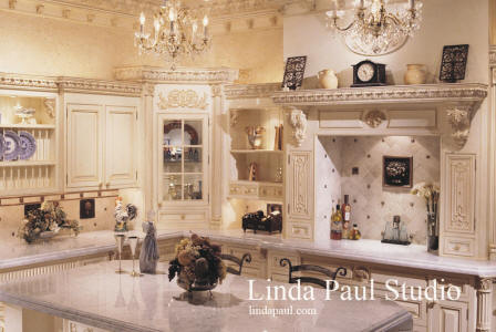 custom french country kitchen with fruit basket back splash