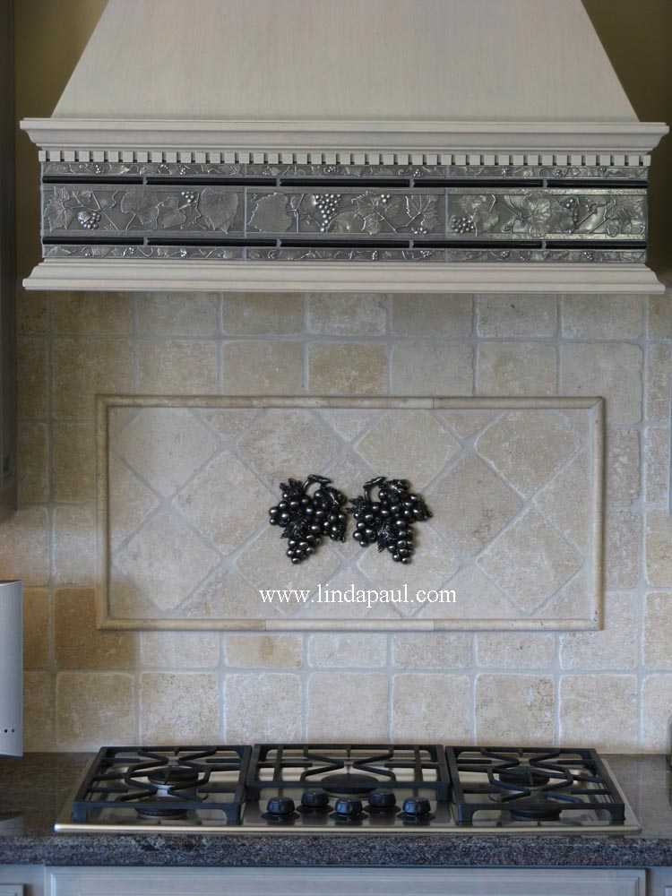 Kitchen grape tiles metal backsplash accents of grapes - Decorative tile for backsplash in kitchens ...