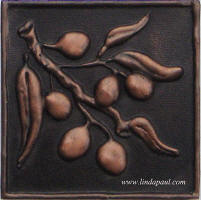 "Olives solid metal tile 4"" x 4"""