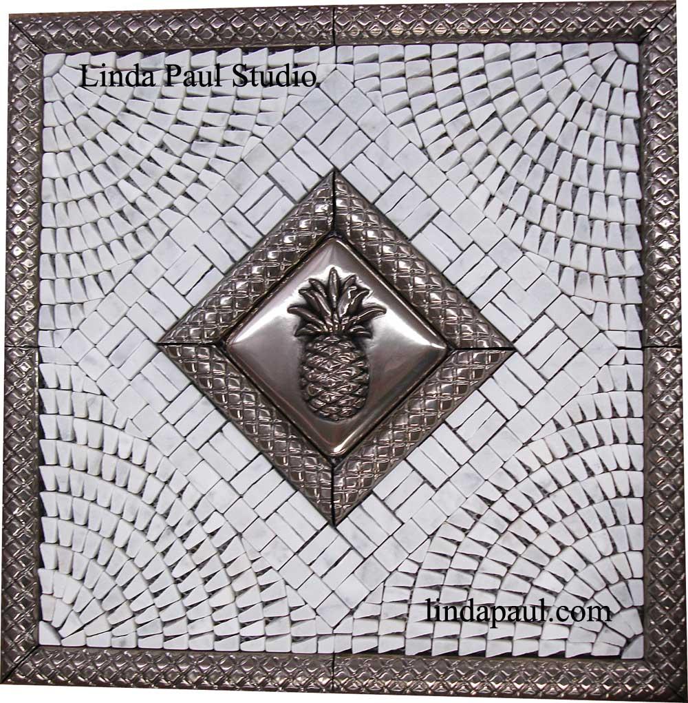 Pineapple Kitchen Backsplash - Tile Mosaic Medallion - Pineapple Tiles