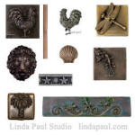accents tiles of rooster, dragonfly, gecko, seashells bamboo and palm tree metal tile