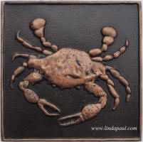 "Crab solid metal tile 6"" x 6"""