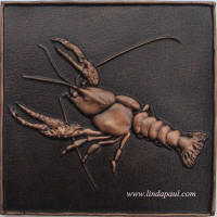 "Crayfish solid metal tile 6"" x 6"""